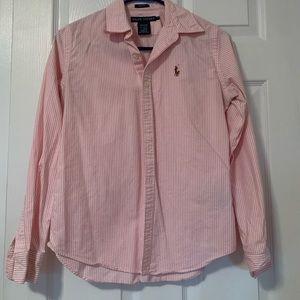 Ralph Lauren Pink Striped Oxford Slim Fit size 4